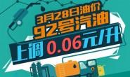 3月28日24时:92号汽油上调0.06元/升