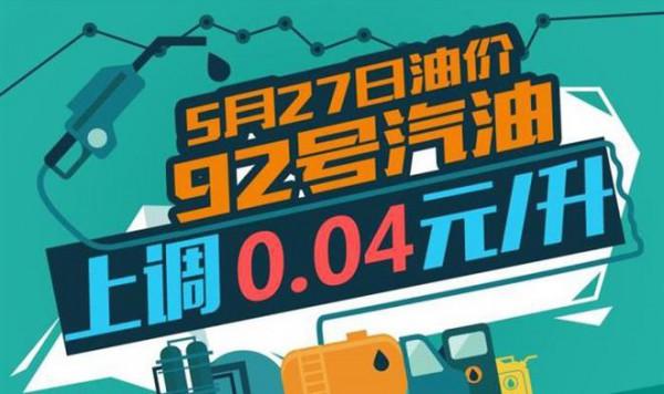 5月27日24时:92号汽油上调0.04元/升